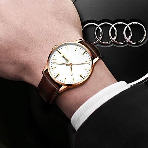 Eantpure Cuarzo simulado Relojes, Impermeable, Reloj de Hombre,de Cuarzo, Reloj con cinturón, Moda, Casual, Reloj con Correa de Malla-J,Analogicos Fecha de Pulsera.