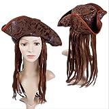 SWDCA Cosplay Pelucas Cosplay Pirate Sombrero con Pelo Jack Sparrow Wig Resistente al Calor Resistente al Calor Rosa Rosa Adulto Peluca sintética