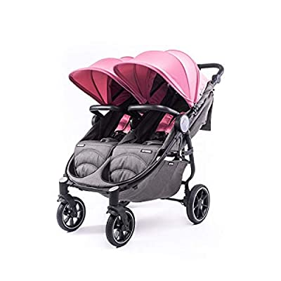 Silla Gemelar Easy Twin 4 Chasis Negro Baby Monsters Plástico de Lluvia y Barras Frontales incluidas Color Milkshake