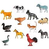 TOYANDONA 24 Unids/Set Mini Figuras de Animales de Granja Juguetes Toppers de Pastel Figuras de Granja de Plástico Realistas Miniaturas Juego de Animales Juguetes Educativos de