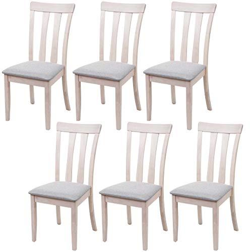 Mendler Set 6X sedie Cucina HWC-G46 Legno massello Struttura Chiara Cuscino Grigio