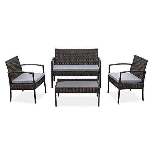 BaiHogi Mesa de Cama, 4pc Patio Furniture Set PE Wicker Acolchado al Aire Libre Rattan Sofa Deck Jardín