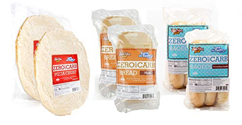 ThinSlim Foods Zero Net Carb Bread Plain 2pack | Bagels Everything Inside 2pack | Pizza Crust 2pack | 0g Net Carbs