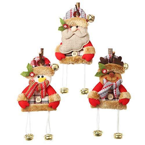 Dan&Dre 3 adornos de Papá Noel reno, muñeco de nieve con campana dorada para árbol de Navidad