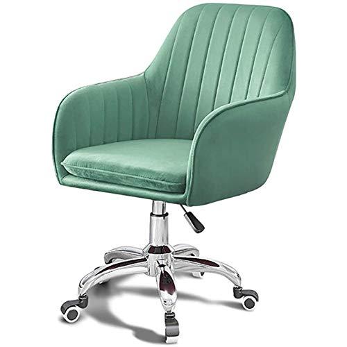 PLAYH Bürostuhl Schreibtischstuhl Drehstuhl Velvet Leisure Chair Mit Lordosenstütze Ergonomischer Bürostuhl, Höhenverstellbar (Color : Green)