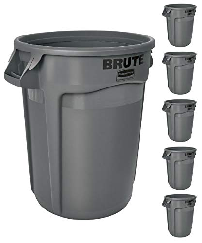 Rubbermaid Commercial Products BRUTE Heavy-Duty Round Trash/Garbage Can with Venting Channels - 32 Gallon - Gray (Pack of 6) - FG263200GRAY