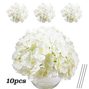 VINFUTUR Flores Artificiales Hortensia Blanca de Seda, 10pcs Ramos de Flores Artificiales Decorativas de Jarrón Mesa…