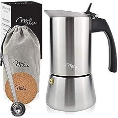Milu Espresso espresso induction induction appropriée, | 2, 4, 6 tasses | Inox Mokkakanne, Espresso Maker Set incl. sous-verre, cuillère, brosse (acier inoxydable, 4 tasses (200ml))