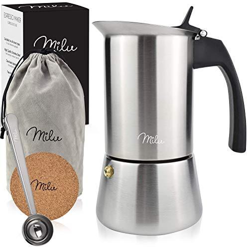 Milu Espressokocher Induktion geeignet, | 2, 4, 6 Tassen| Edelstahl Mokkakanne, Espressokanne, Espresso Maker Set inkl. Untersetzer, Löffel, Bürste (Edelstahl, 6 Tassen (300 ml))
