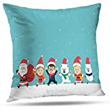 Lfff Cute Holiday with and Girls Merry Child Kid Claus Throw Pillows Funda De Cojín para Dormitorio Sofá Sala De Estar 2 Piezas 18 'X18'