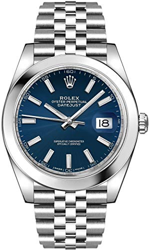 Men's Rolex Datejust 41 Blue Dial Steel Watch on Jubilee Bracelet 126300