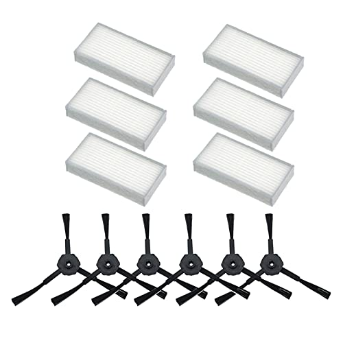 Houzhen Home Cleaning 6 cepillos laterales 6 x Kit de filtro HEPA para aspiradora robot Iife V5S V5 X5 Iife V3s Pro V3L V5S Pro V50 (Color: 12 piezas)