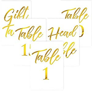 Beautiful Gold Table Numbers for Wedding Reception in Double Sided Gold Foil Lettering with Head Table Card - 4 x 6 inches and Numbered 1-30 - Perfect for Wedding Reception and Events