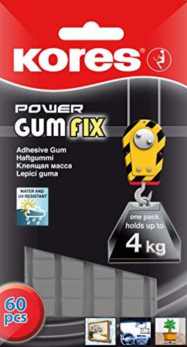Kores 31604 Gumfix Pochette de 60 Pastilles Power Pâte adhésive réutilisable 50 g Forte Noir