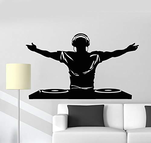 wopiaol Vinyl Wandtattoo DJ Music Disco Kopfhörer Bar Nachtclub Aufkleber Wandbild Poster Home Art Design Dekoration