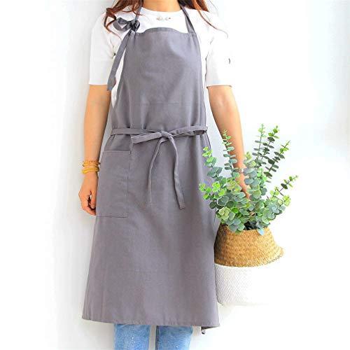 X-Labor Delantal de algodón y lino para mujer, delantal de cocina, delantal de cocina, regalo para el Día de la Madre, color gris