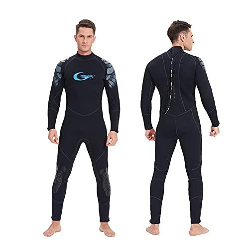 HWZZ Traje de neopreno ultra elástico de 5 mm para hombres, traje de baño térmico de una pieza de cuerpo entero para invierno, traje de buceo de manga larga, negro, XS