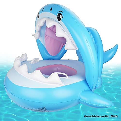 Weokeey Baby Schwimmring, Baby Schwimmen Schwimmtrainer mit Abnehmbarem Sonnendach, Baby Schwimmhilfe für Kinder ab 6 Monaten bis 36 Monaten
