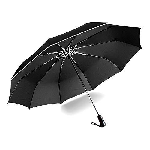 Übergroßer Regenschirm mit weißem Reflexstreifen, 10 Rippen, klappbare, wasserdichte Regenschirme, für 2-3 Personen (Color : Piano Black)
