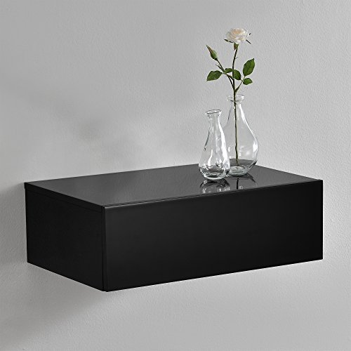 [en.casa] Mesita de Noche de Pared con un cajón - Lacado Brillo Negro - 46x30x15cm