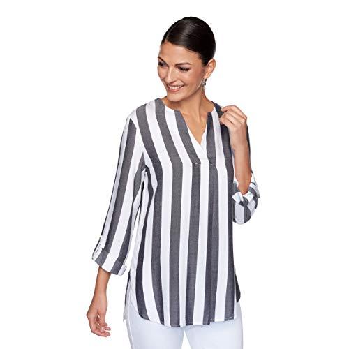 Ruby Rd. Women's Cabana Striped Top, Black/White, M