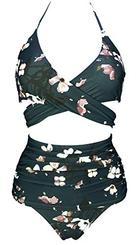 COCOSHIP Green Gables & Brown White Floral Retro Ruched High Waist Bikini Set Cross Push Up Sport Tie Back Bathing Suit 6