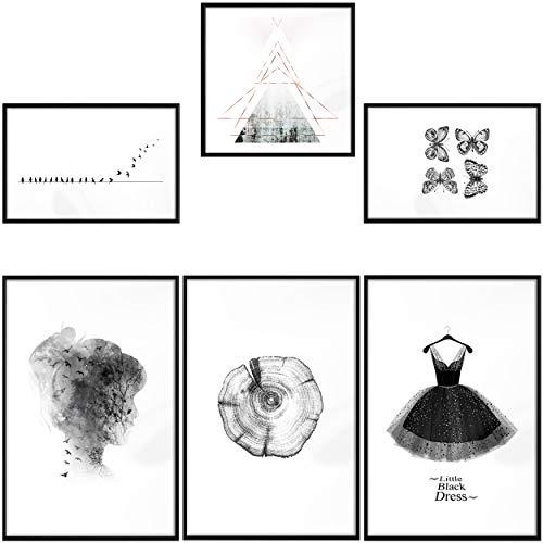 decomonkey | Poster 6er – Set schwarz-weiß Abstrakt Kunstdruck Wandbild Print Bilder Kunstposter Wandposter Posterset Muster Vogel Tiere Geometrische Natur Kleid