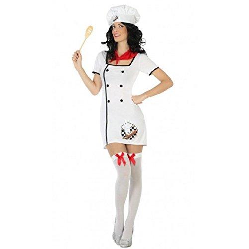 Atosa- Disfraz mujer cocinera, Color blanco, M-L (15804)