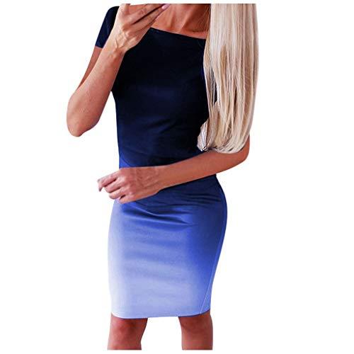 Keerads- Mini vestido informal de manga corta para mujer, cuello redondo, banda vintage para mujer, vestido de noche, casual, ajustado azul XXX-Large