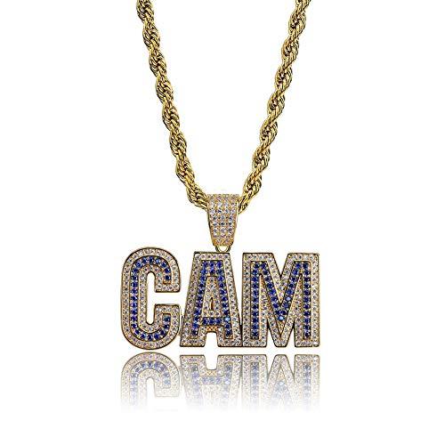Hip Hop CAM - Collar con colgante de letra con incrustaciones de cobre y circonitas (oro, plata), 123, dorado, Size
