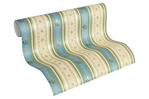 A.S. Création Vliestapete Hermitage 10 Tapete klassisch neo-barock 10,05 m x 0,53 m beige blau grün Made in Germany 335422 33542-2
