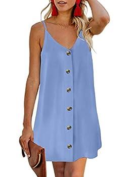 Chase Secret Women V Neck Spaghetti Strap Sundress Summer Casual Button Down A Line Swing Mini Dresses Fashion 2020 Sky Blue X-Large