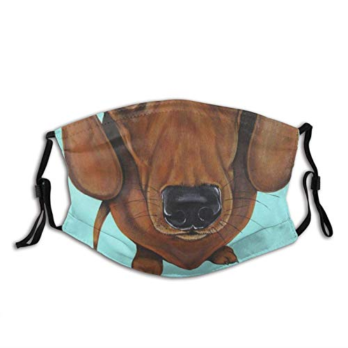 vipsung Dachshund Dog Mint Green Unisex Reusable Filter Washable Balaclava Adjustable Straps Mouth Cover with 2 Pcs Filters
