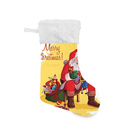 Jieaiuoo Christmas Stocking Hanging Decoration,Little Child Sitting on Santa Knee with Gifts Doll and Toy Train Kids Design,Christmas Holiday Ornaments Home Decor Toys Candy Gift Bag