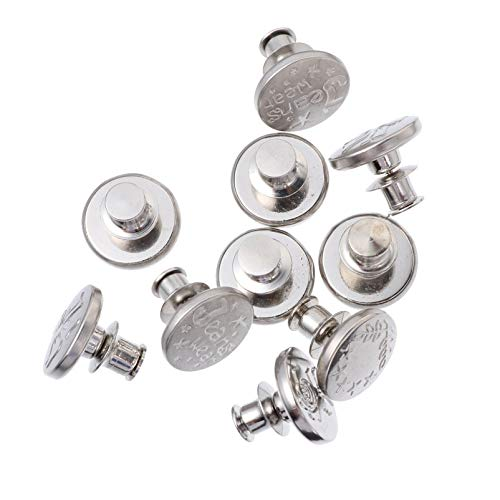 Amosfun 10Pcs Silberne Jeansknöpfe Metall Kein Nähen Instant Tack Verstellbare Druckknöpfe Ersatzknopf(Gemischter Stil)