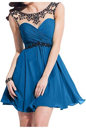 Promgirl House 2015 A Linie Chiffon Cocktailkleider Partykleider Abendkleider Ballkleider Kurz-32 Blau