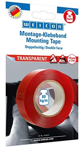 WEICON Montage-Klebeband transparent / Doppelseitiges Klebeband / extra stark / haftet auf Glas Metall Kunsstoff / für Auto Outdoor Fliegengitter Fenster