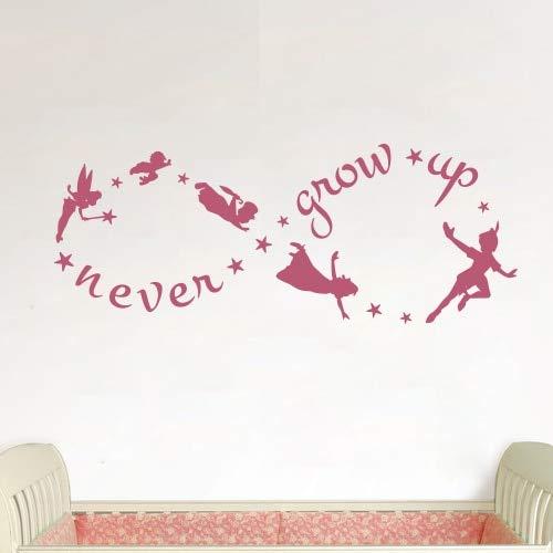 Figura de Dibujos Animados Peter Pan Decal Nunca crecerá Tinkerbell Extraíble Tatuajes de Pared Arte Mural Pegatinas de Pared Niños decoración del hogar 42 * 106 cm