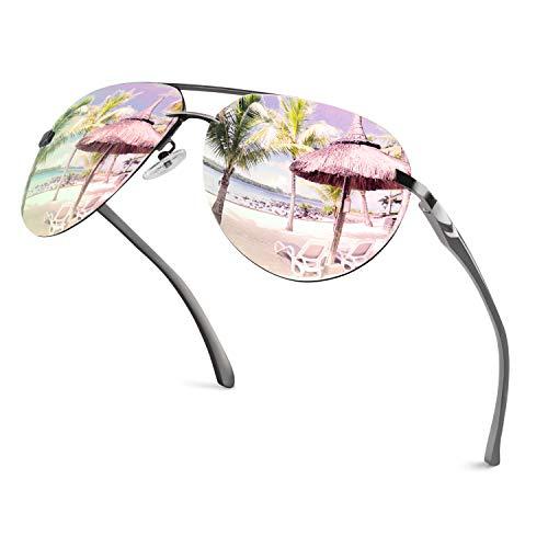 GQUEEN Pilotenbrille Damen Übergroß Fliegerbrille Sonnenbrille Verspiegelt MOF3