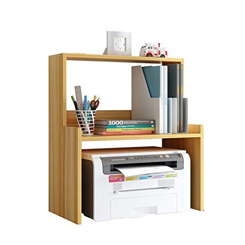 Soporte para impresora práctico para máquina de fax con estantes de almacenamiento grandes, estante de impresora de doble capa para el hogar y la oficina, madera de cerezo