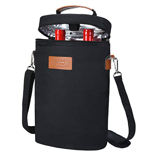 Kato Kühltasche für 2 Flaschen- Flaschenträger für Wein & Bier, gepolsterte 2 weinkühltasche mit isoliert,Griff & Schultergurt, Flaschenkorb für Reise, Picknick, Frauen/männer