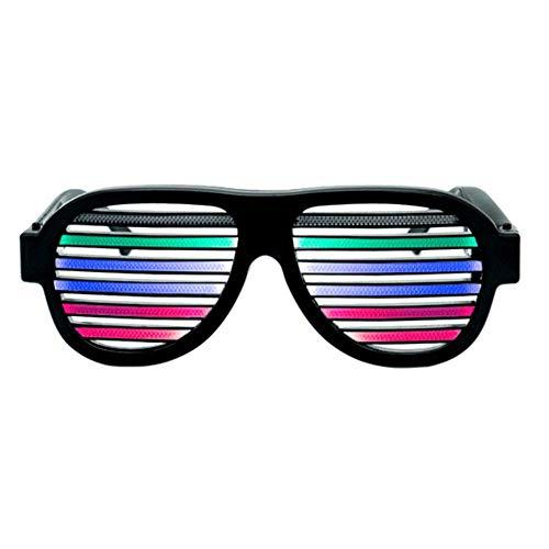 USB Rechargeable LED Light Up Glasses Sound Activated Luminous Eyeglasses Wireless LED Flashing Shutter Sunglasses (Black)