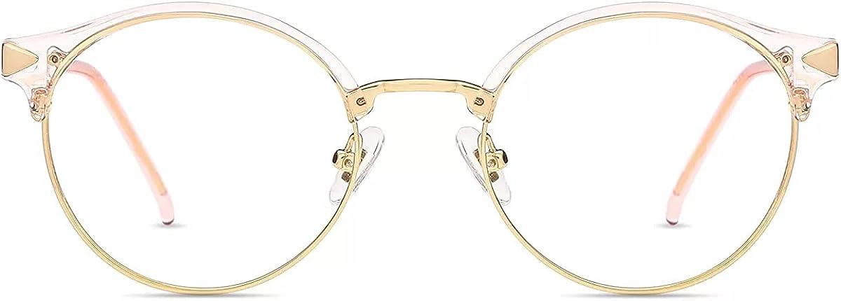 Firmoo Gafas Luz Azul para Mujer Hombre,Gafas Gaming Anti UV para PC, Móvil TV, Tablet Protección contra Luz Azul (Oro,Rosa, 2.0)