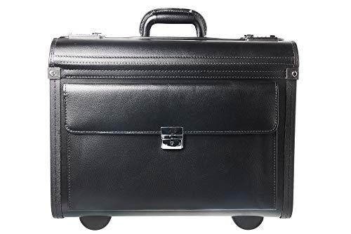 Tassia Bonded Leather Pilot Case - Front Pocket Lock Protection - Wheeled Pilotcase