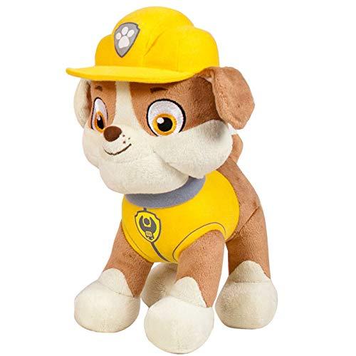 JuniorToys Design für Paw Patrol Plüschtier 28cm Helfer auf Vier Pfoten als kuschelige Plüschhunde (Rubble Bulldogge Bauarbeiter)