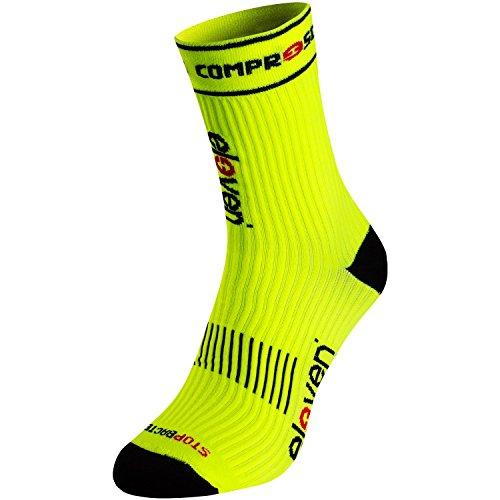 Eleven Kompressionssocke | Kompressionssocken | Laufsocken | Compression Socks | Sportsocke | Damen | Herren zum Radfahren, Laufen, Triathlon, Running und Wandern (Neon gelb, XL (EU 46-48))