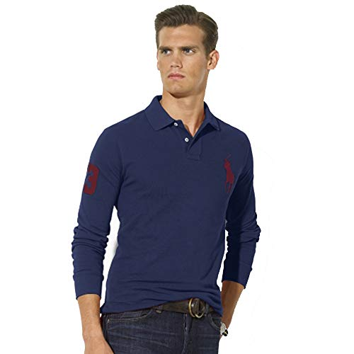Ralph Lauren Polo de Manga Larga Big Pony Custom Fit (S, Azul Marino)