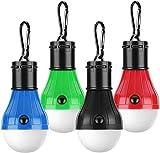 Alfie Camping Licht, LED-Zelt Lampe, LED Camping-Laterne, wasserfest tragbar Zelt Licht, Unwetter, Wandern, Angeln, Notfall Leichte Akku Lampe für Outdoor und Indoor–4Pack