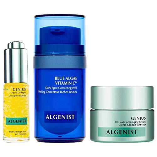 Algenist C Spots Go Mini Facial Trio Kit - 3-Piece Mini Skincare Set - Blue Algae Vitamin C (12ml), GENIUS Liquid Collagen (6.2ml), and GENIUS Ultimate Anti-Aging Cream (15ml)