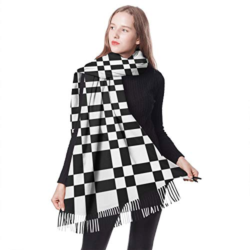 Women Girls Abstract Black and White Minimal Chequered Winter Shawl Scarf Classic Warm Cozy Scarf...